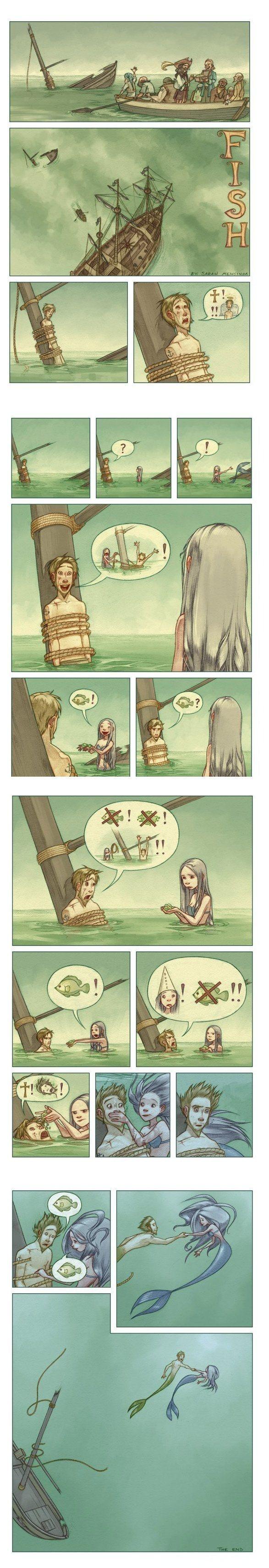 Komiksas: Jūreivis ir Undinė