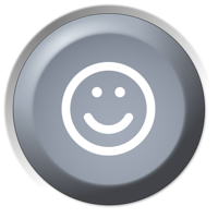 Juoko mygtukas su šypsena